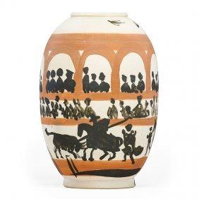 "Pablo Picasso; Madoura Large Vase, ""arena"""