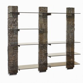 Paul Evans Sculptured Metal Wall Unit