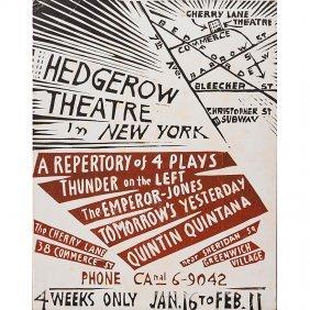 Wharton Esherick Rare Hedgerow Theatre Poster