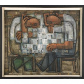 Frederic Weinberg Painting Of Chess Players