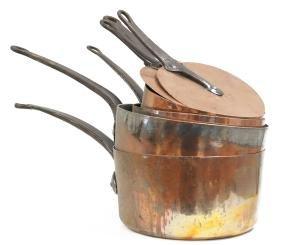 LOT (5) VINTAGE NESTING COPPER SAUCE PANS WITH (2)