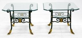 PAIR WROUGHT IRON AND BRASS LAMP TABLES WITH