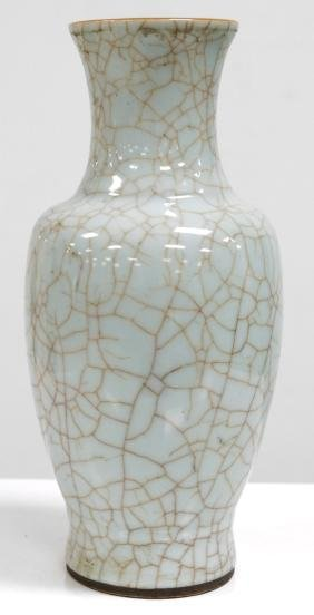 CHINESE CELADON CRACKLE GLAZE VASE, MOUNTED AS A LAMP,