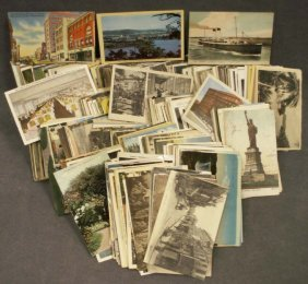 BOX ASSORTED VINTAGE U.S. & FOREIGN POSTCARDS