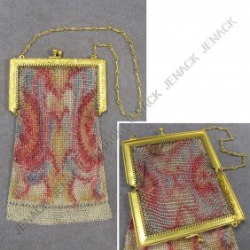 VINTAGE ART DECO STAINED MESH HAND BAG