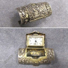 UNIVERSAL GENEVE CHINESE SILVER CASED CLIP WATCH