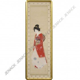 JAPANESE WATERCOLOR SCROLL PAINTING, GEISHA, SIGN