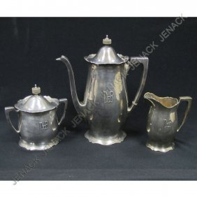 LOT (3) WALLACE STERLING ANTIQUE COFFEE SET