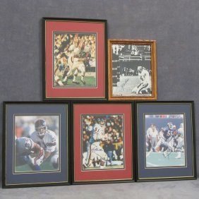 LOT (5) VINTAGE NFL AUTOGRAPHED PHOTOGRAPHS