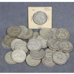 LOT (32) ASSORTED FRANKLIN SILVER HALF DOLLAR COIN