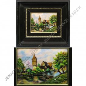 LIMOGES COPPER ENAMEL PLAQUE, VILLAGE SCENE