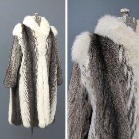 VINTAGE WHITE FOX/RACCOON FULL LENGTH LADY'S COAT