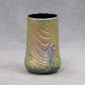 IRIDESCENT ART GLASS PEACOCK FEATHER VASE