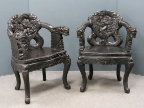 Pair Chinese Carved And Inlaid Dragon Armchairs