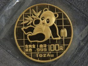 1989 Chinese Gold 100 Yuan Panda Coin, Large Date. 1