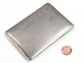 Art Deco French .800 Silver Cigarette Case,