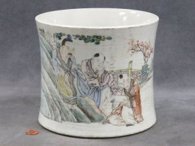 Chinese Famille Rose Decorated Porcelain Brush Pot,