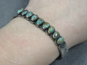 Navajo Sterling Turquoise Cuff Bracelet, Signed Jb.