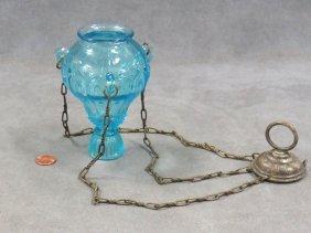 "Russian Pattern Glass Lampada, 19th Century. Height 18"""