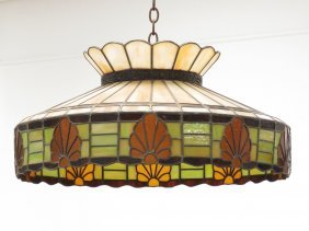 Vintage Leaded Glass Hanging Shade. Diameter 29""
