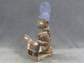 Yoruba, Nigeria, Figural Carved And Painted Ritual