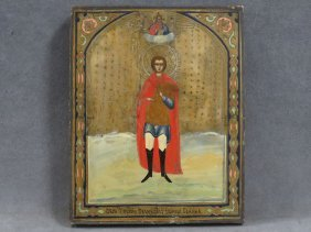 Russian Icon On Wood Panel, John The Warrior, 19th
