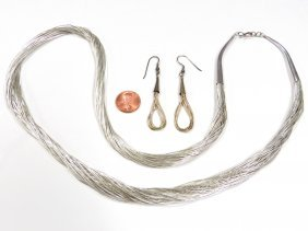 Liquid Silver Necklace And Earrings