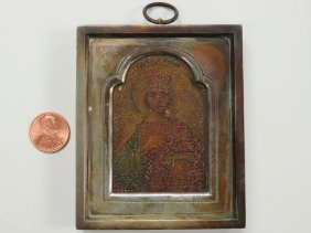 Imperial Russian Traveling Icon On Wood Panel With 84