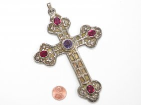 Vintage 925 Sterling Cross Pendant With Synthetic