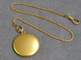 10k Yellow Gold Watch Chain With 1/4 Gold Shell Locket.