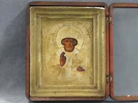 Russian Icon On Wood Panel, St. Nickolas With Brass