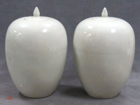 Pair Chinese Crackle Glaze Covered Ovid Vases