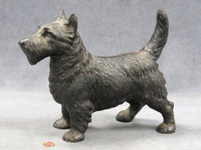 "Vintage Cast Iron Scottie Door Stop. Height 9""; Length"