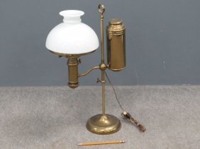 Vintage Miller's Ideal Brass Single-arm Student Lamp,