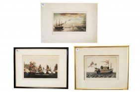 Lot (3) Marine Hand Colored Engravings Including The