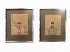 Pair Chinese Ancestral Paintings On Silk, 19th Century.