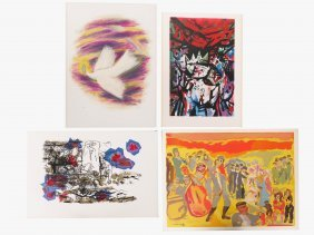 Lot (4) Judaic Lithographs Including Reuven Rubin