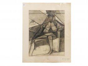 Emily Farnham (american 1912-2004), Charcoal On Paper,
