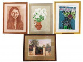 Lot (4) Assorted Lithographs. Framed And Glazed