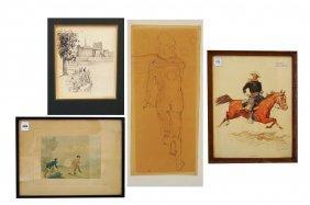 Lot (4) Including Original Hand Colored Lithograph,