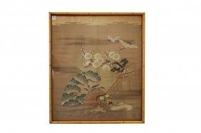 "Japanese Embroidered Silk Panel. Framed 29 X 26 1/2"""