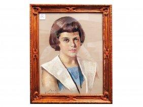 Guilio Salti (italy 1899-1984), Pastel, Portrait Of A