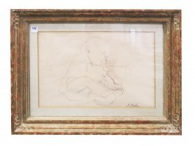 Susan Kahn (american 1924-), Crayon On Paper, Sleeping