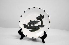 Edition Picasso, Terre De Faience Plate, Taureau Sous
