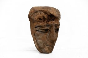 Egyptian Carved And Painted Wood Mask, 26th