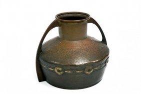 Wmf Hammered Copper/brass Handled Vase, Signed. Height