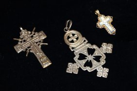 Lot (3) Assorted Crosses Including 14k Yellow Gold