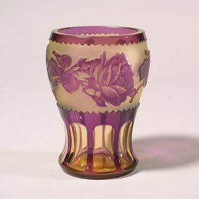 Bohemian Ovrlay Vase, Ruby/yellow, Came