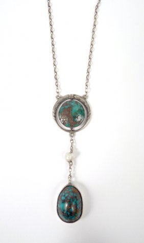 A German Arts & Crafts Edna May Style Turquoise Pend