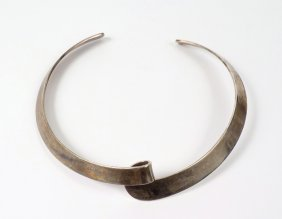 A Sterling Silver Torque Necklace By Georg Jensen,
